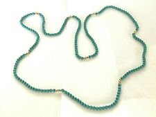 New 14kt Gold - Genuine Turquoise Bead Necklace -Free Ship!