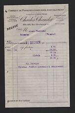 Paris, invoice 1926, Charles chandet Fabrique De Passementerie Pour Ameublement