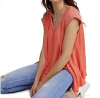 Free People Women's Keep it Casual Tee Coral Size XS