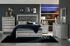 NEW Modern Design Silver 5 pieces Bedroom Set w/ King Dark Gray Vinyl Bed IA5P