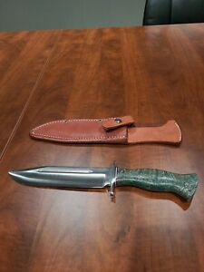 Bark River Knives Teddy II A-2 Modified Sabre 7 3/4 in Blade Green Ash Burl Wood
