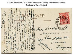 "12760: Basutoland, 1912 KEVII Transvaal Postcard ""MASERU 26 9 1912"" to England"