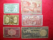 Indochine. Lot de 6 billets. ND de 1939 à 1947.