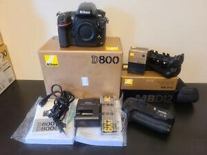 Nikon D800 36.3MP Digital SLR Camera + MB-D12 Battery Grip + Original Boxes