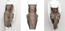 LANVIN Hiver 2010 Leopard Print Drape Back Silk Dress 34