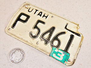 UTAH MOTORCYCLE LICENSE PLATE P 5461