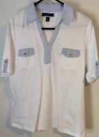 KAREN SCOTT PXL White w/Blue Striped Trim Elbow Sleeve Pullover Knit Top