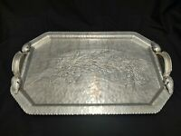 """CONTINENTAL SILVERLOOK 755 HAND WROUGHT TRAY FLORAL HAMMERED DESIGN 18.5"""" LONG"""