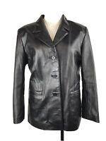 MASSINI Women's Black GENUINE LEATHER Button Up Jacket / Blazer Size M
