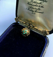 ANTIQUE VICTORIAN 14K GOLD ETRUSCAN TURQUOISE BALL DROP ORNATE PIN BROOCH