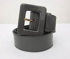 NEW YSL Yves Saint Laurent Patent Gray Leather Square Buckle Belt  70cm/28in****