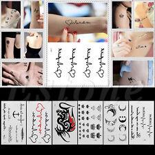 7 sheets Temporary Tattoo Body Art Waterproof Tattoo Sticker Black Heart Letter