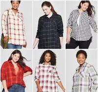 Women's Plus Size - Plaid No Gap - Button Down Long Sleeve Shirt - Ava & Viv-NWT