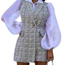 ZARA Black & White Tweed Jumpsuit Dress  Size S