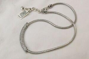 NWT Brighton Meridian Blaze Silver & Crystal Bar Collar Necklace $98