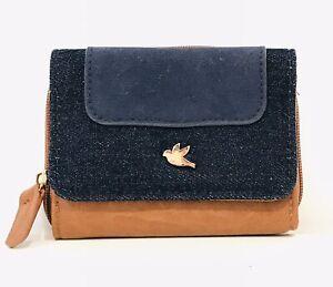 *NWOT* BLUEBIRD Denim/Tan Womens Trifold Wallet/Purse
