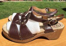 Dansko Women's Brown Leather Ankle Strap Sandal Clogs Size 37 EU 6.5/7 US
