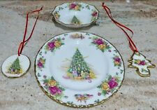 SET OF 4 - ROYAL ALBERT - CHRISTMAS MAGIC - PLATE - BOWL - ORNAMENTS