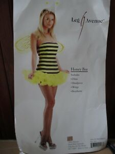 Leg Avenue Adult Junior Women Halloween Costume Honey Bee Dress SizeM/L 8 10 12