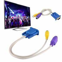 Portable 15 Pin VGA SVGA Male TO 4 Pin S-Video RCA Female AV TV Out Converters