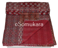 Indian Kantha Quilt Throw Reversible Bedspread Double Size Red Hand Block Print
