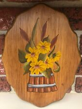 """Handpainted Wooden Plaque Yellow Flowers Cattails Bucket Country Style 12"""" x 9"""""""