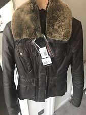 Genuine Fur Collar Brown Belstaff Coat Jacket Size 38