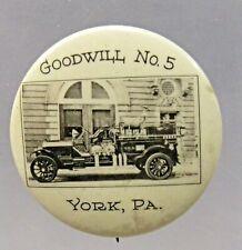 "vintage YORK PA. GOODWILL #5 FIRE TRUCK photo pinback button 1.25"" celluloid"