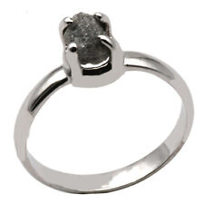 Silber Ring mit grauem Rohdiamant (Sterling Silber 925) Diamant Ring