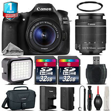 Canon EOS 80D DSLR Camera + 18-55mm IS STM + LED + 64GB + 1yr Warranty -64GB Kit