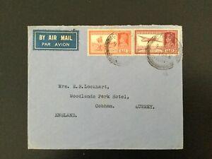 INDIA 1939  Airmail Colaba to Cobham, England 14 annas rate (E327)