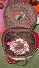 JUICY COUTURE Crystal PINK Mirror HEART CHARMS Travel MAKEUP Cosmetic TRAIN Case