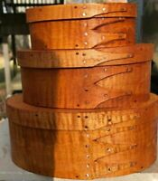 TIGER MAPLE  SHAKER OVAL BOXES---STACK OF 3-----SIZES  # 1, 2  and 3