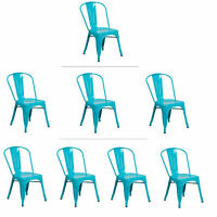 Tolix Teal Metal Stacking Dining Chair Commercial Quality 1-4 Unit Discounts