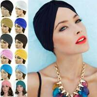 Unisex Stretchy Turban Head Wrap Band Chemo Bandana Hijab Pleated Indian Cap Hat