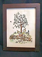 Antique, Reverse Glass Painting, Children on See-Saw - Used
