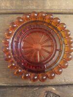 Vintage Hazel Atlas Dark Amber Glass Bubble Edge Cigarette Joint Ashtray  Rare
