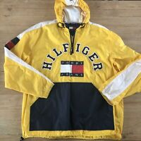 Tommy Hilfiger Vintage Yellow Pullover Hooded Large Logo Windbreaker Rain Jacket