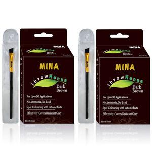 Mina ibrow Henna Dark Brown Regular Pack set of 2 with 2 brush