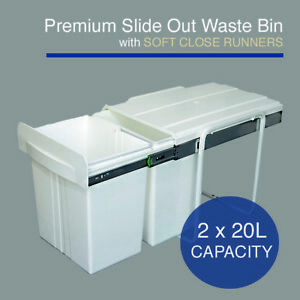 40L Premium Slide Out Waste Bin - Pull Out Kitchen Dual Compartment 2x20L