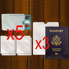 3x Passport 5x RFID Blocking ID Credit Card Protector Secure Sleeve Holder Guard