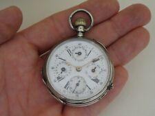 Calendar Pocket Watch Antique Swiss Silver