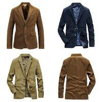 Mens Corduroy Suit Jacket Smart Casual Notch Lapel Cord Blazer Coat Vintage Tops