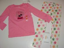 Gymboree Cheery All The Way Girls Size 4 Dog Puppy Snowglobe Top Leggings NWT