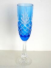 1 AJKA ODESSA ED 2 AZURE LT BLUE CASED CUT TO CLEAR CRYSTAL CHAMPAGNE FLUTE