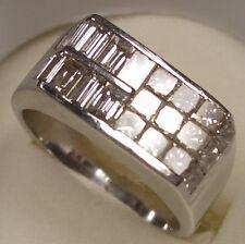 MEN'S 14 K WHITE GOLD DIAMOND RING 2.15 CARAT PRINCESS FANCY CUT