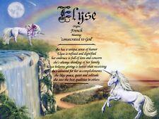 """Unicorns2"" Name Meaning Prints Personalized (Unicorn, Fantasy, Girl's Room)"