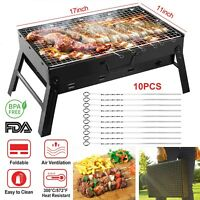 BBQ Barbecue Grill Large Folding Charcoal Stove Camping with 10pcs Kabob Skewers
