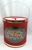 Vintage Coca-Cola Red - Gold Band Ice Bucket 5 Cent