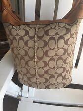 Coach LARGE Brown Signature Duffle Bucket Crossbody Bag Purse VERY NICE